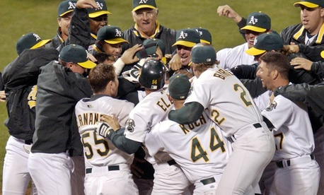 The 2002 Oakland Athletics A's celebrate the 20 game win streak which was an American League record.