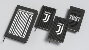 New Juventus logo books and journals.