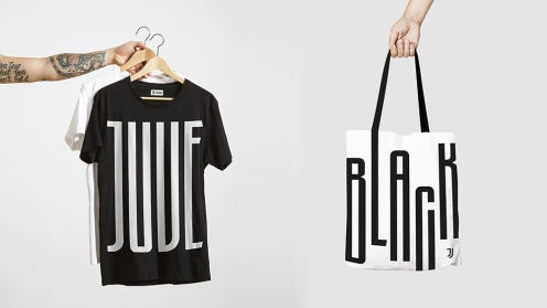 New Juventus logo t-shirts and bags.